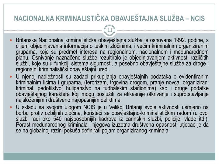 NACIONALNA KRIMINALISTIKA OBAVJETAJNA SLUBA  NCIS