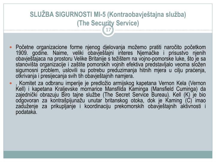 SLUBA SIGURNOSTI MI-5 (Kontraobavjetajna sluba)
