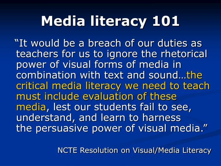 Media literacy 101