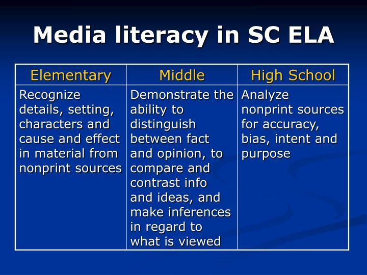 Media literacy in SC ELA