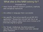 what else is the nab looking for1