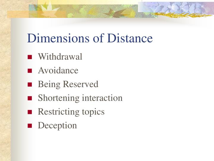 Dimensions of Distance