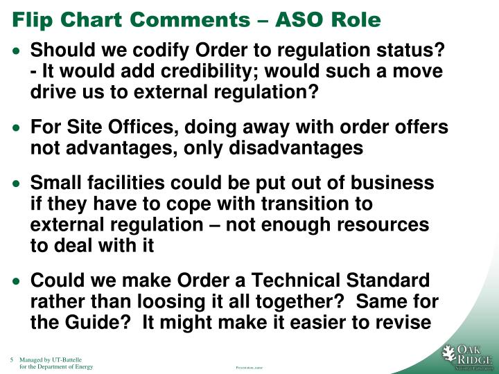 Flip Chart Comments – ASO Role