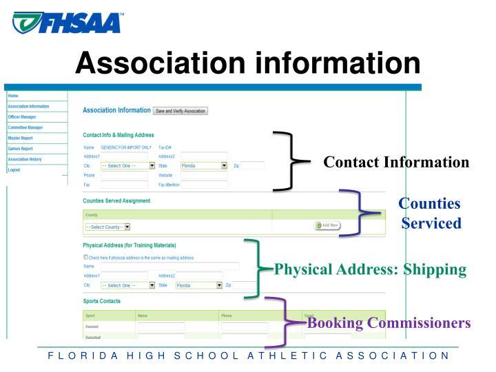 Association information