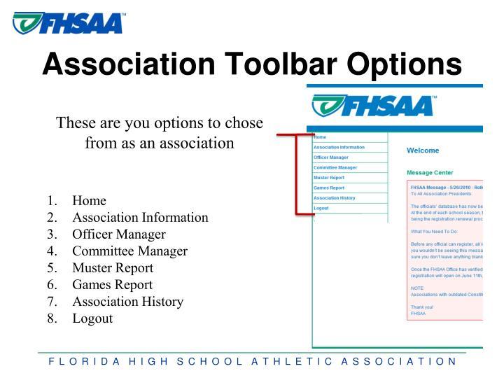 Association Toolbar Options