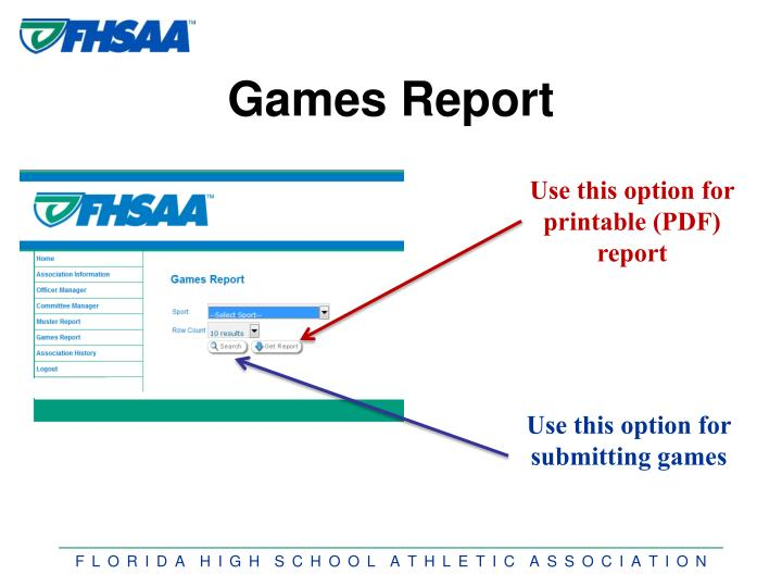 Games Report