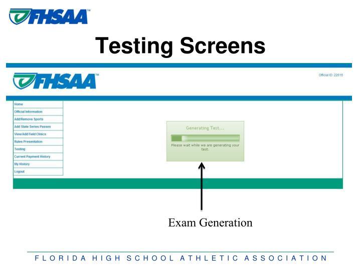Testing Screens