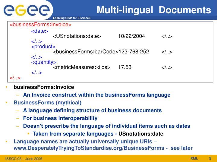 Multi-lingual  Documents