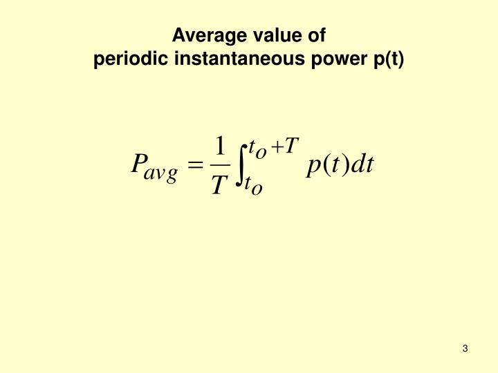Average value of periodic instantaneous power p t