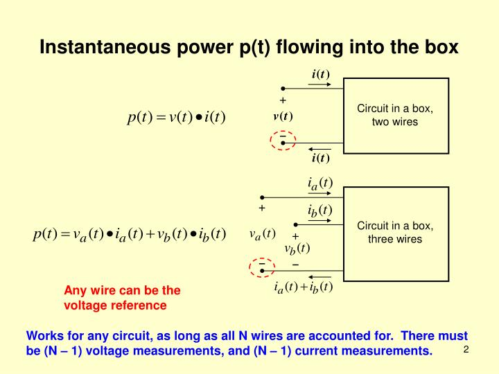 Instantaneous power p t flowing into the box
