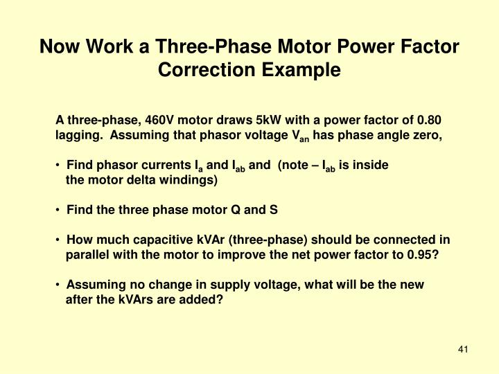 Now Work a Three-Phase Motor Power Factor Correction Example