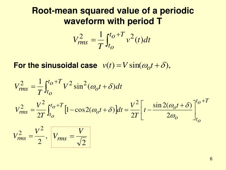 Root-mean squared value of a periodic waveform with period T