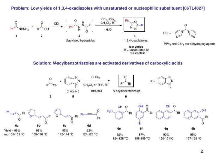 Problem: Low yields of 1,3,4-oxadiazoles with unsaturated or nucleophilic substituent [06TL4827]