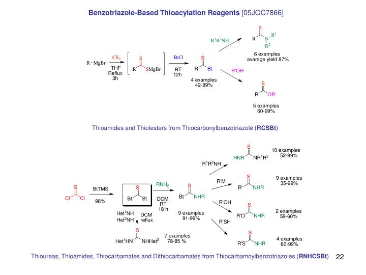 Benzotriazole-Based Thioacylation Reagents