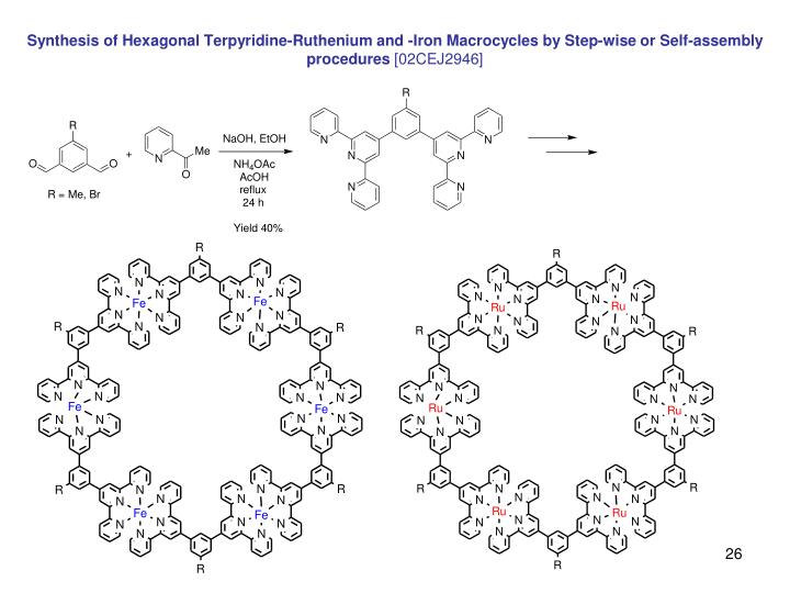 Synthesis of Hexagonal Terpyridine-Ruthenium and -Iron Macrocycles by Step-wise or Self-assembly procedures