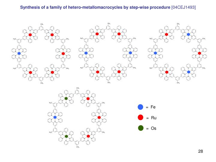 Synthesis of a family of hetero-metallomacrocycles by step-wise procedure