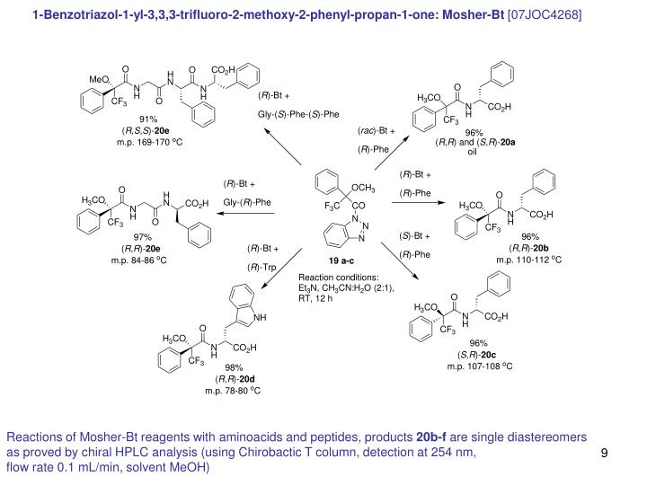 1-Benzotriazol-1-yl-3,3,3-trifluoro-2-methoxy-2-phenyl-propan-1-one: Mosher-Bt
