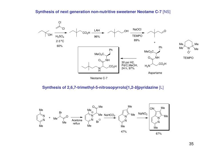 Synthesis of next generation non-nutritive sweetener Neotame C-7