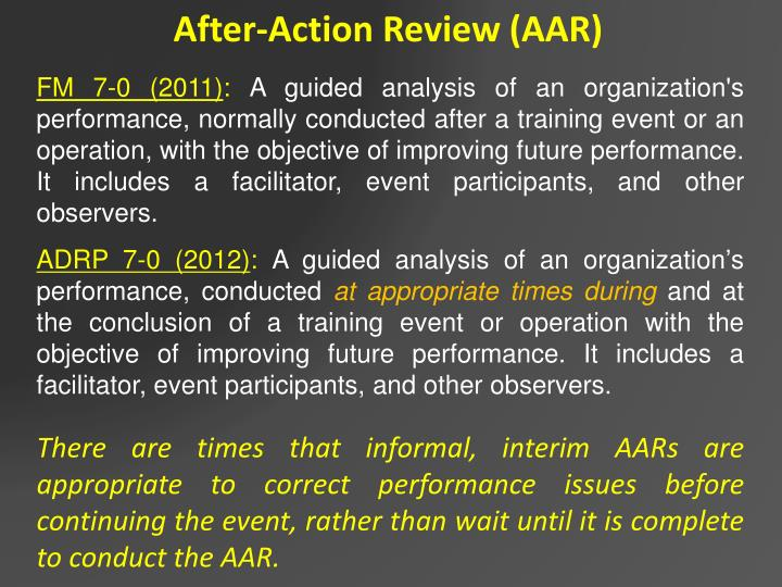After-Action Review (AAR)