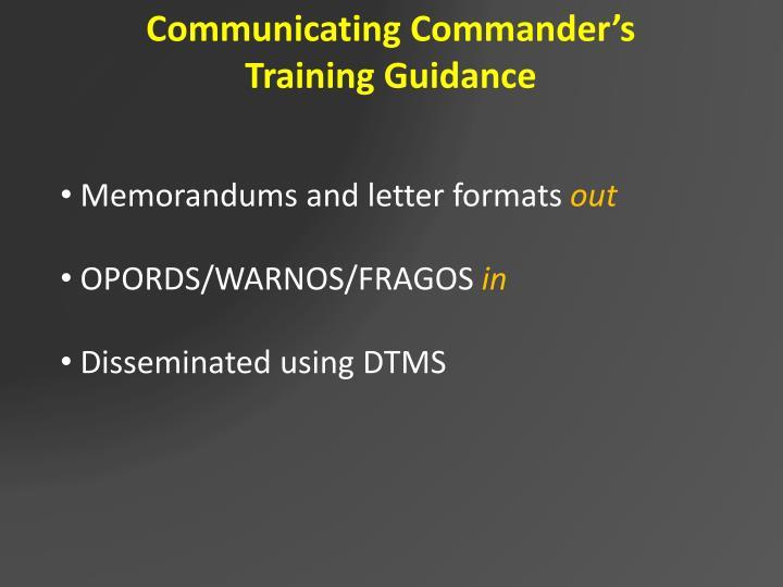 Communicating Commander's