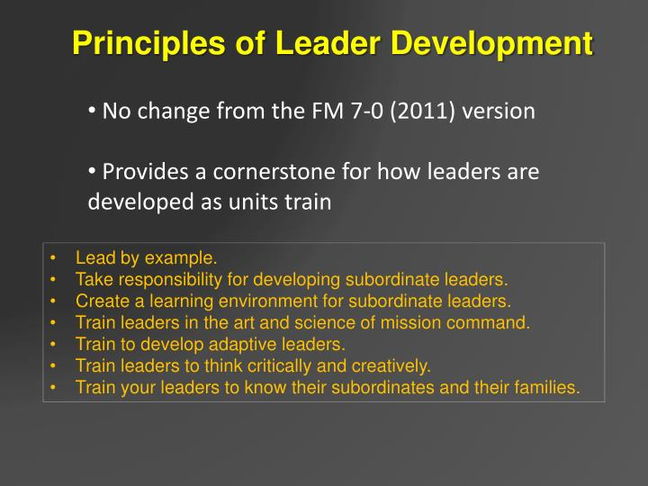 Principles of Leader Development