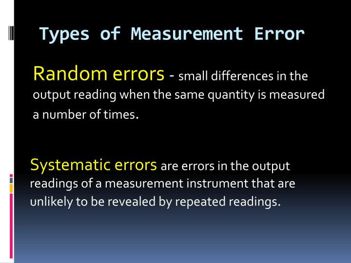 Types of Measurement Error