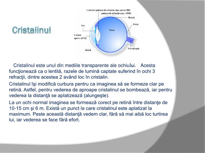 Cristalinul este unul din mediile transparente ale ochiu