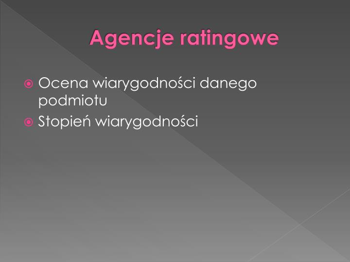 Agencje ratingowe