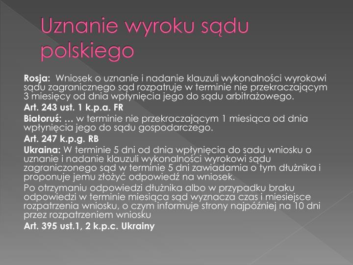 Uznanie wyroku sądu polskiego