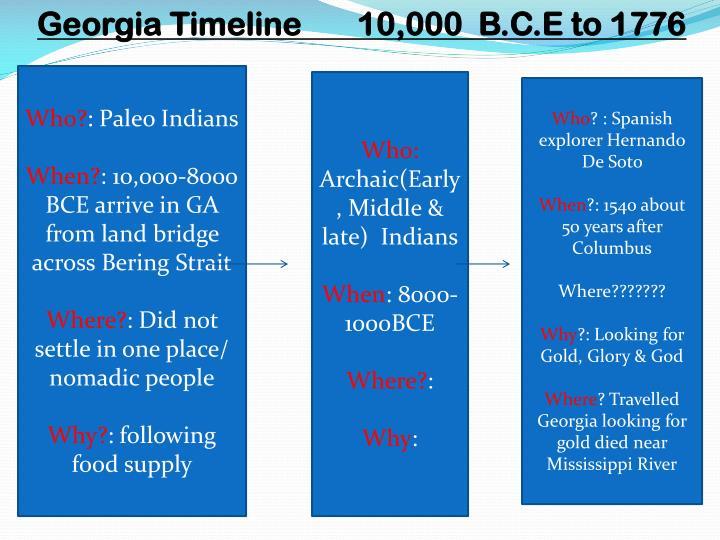 Georgia Timeline       10,000  B.C.E to 1776