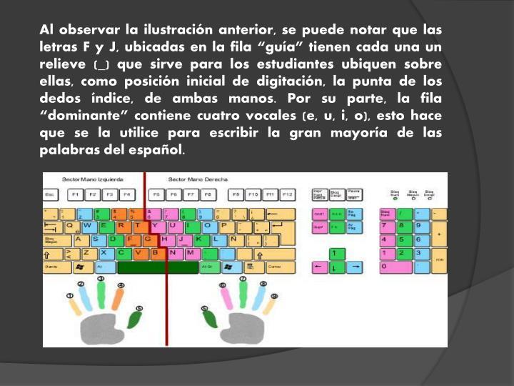 """Al observar la ilustración anterior, se puede notar que las letras F y J, ubicadas en la fila """"guía"""" tienen cada una un relieve ("""