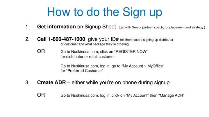 How to do the Sign up