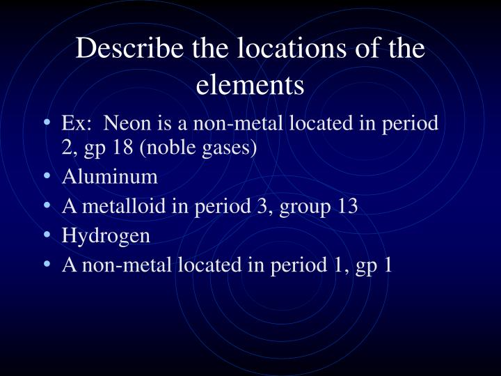 Describe the locations of the elements