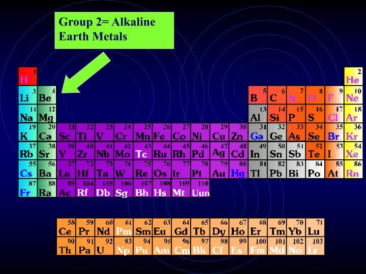Group 2= Alkaline Earth Metals
