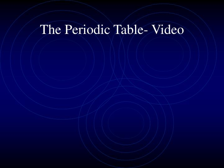The Periodic Table- Video