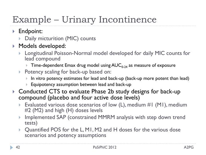 Example – Urinary Incontinence