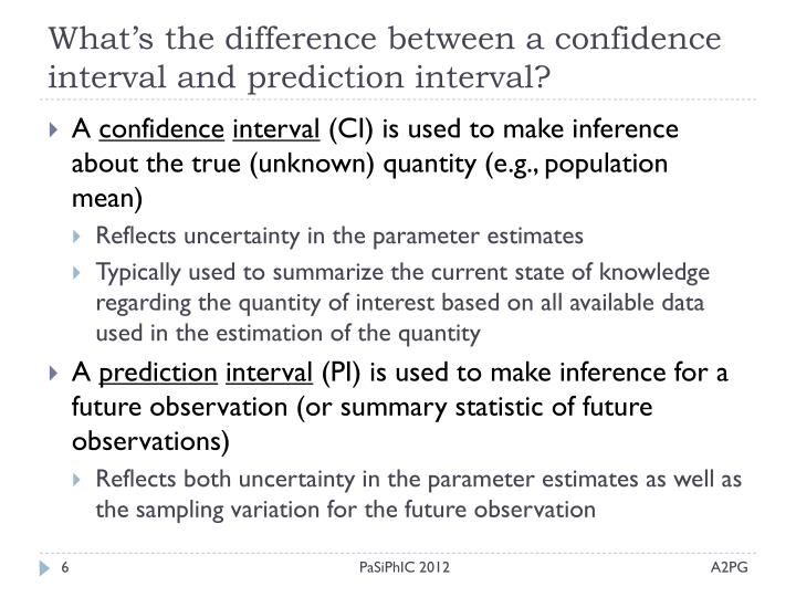 What's the difference between a confidence interval and prediction interval?