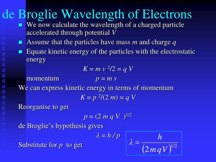 de Broglie Wavelength of Electrons