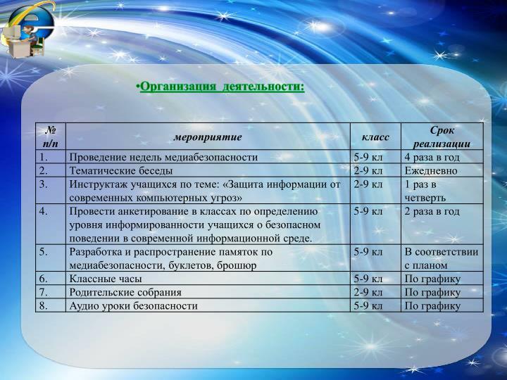 Организация  деятельности: