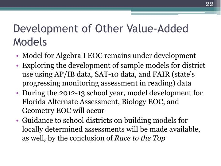 Development of Other Value-Added Models