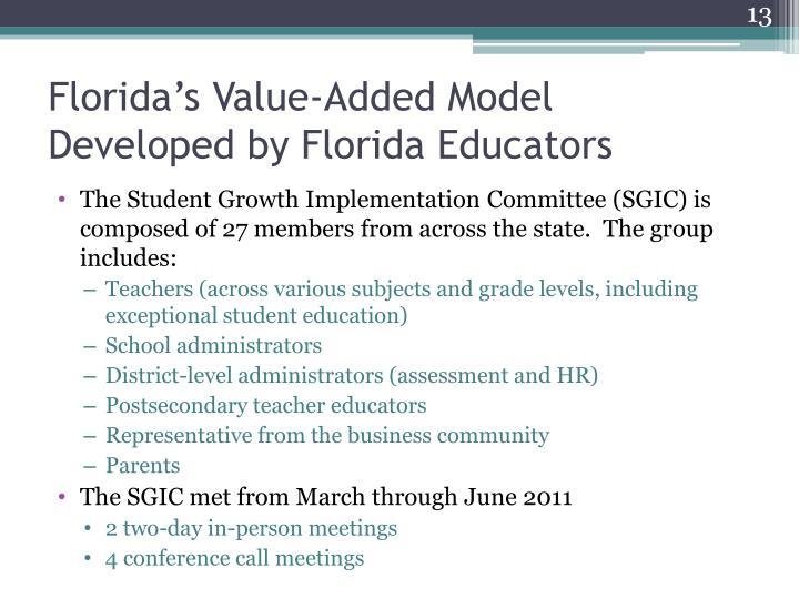 Florida's Value-Added Model Developed by Florida Educators