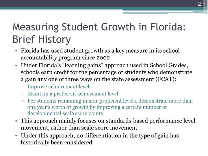 Measuring student growth in florida brief history