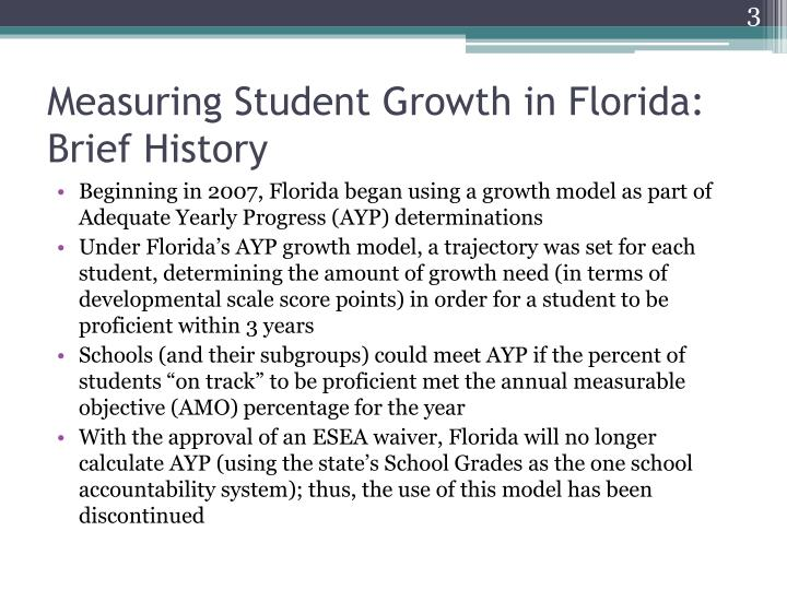 Measuring student growth in florida brief history1