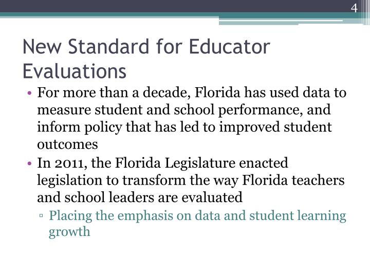 New Standard for Educator Evaluations