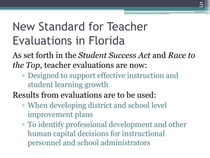 New Standard for Teacher Evaluations in Florida