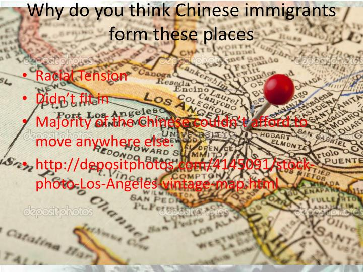 Why do you think Chinese immigrants form these places