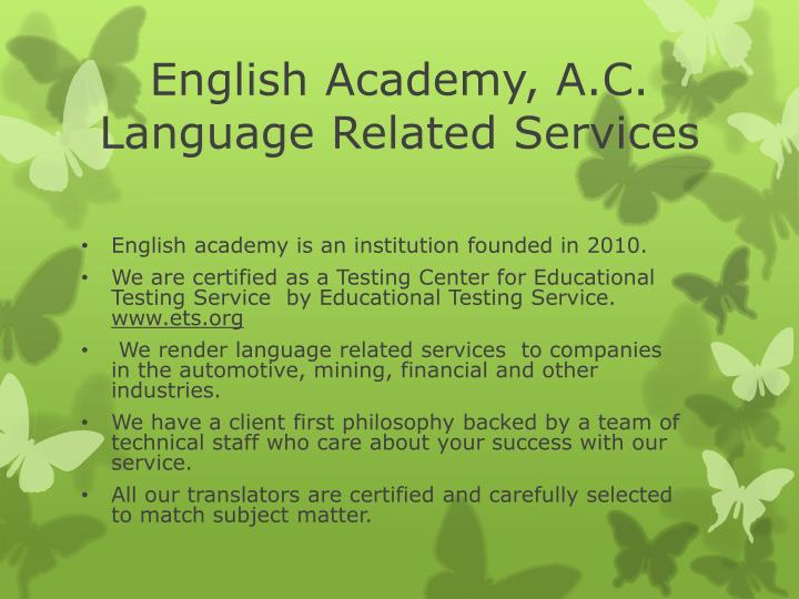 English academy a c language related services