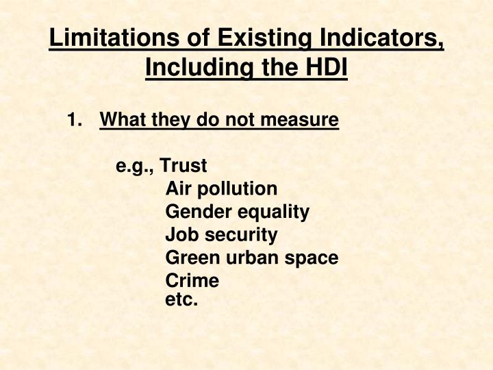Limitations of Existing Indicators,