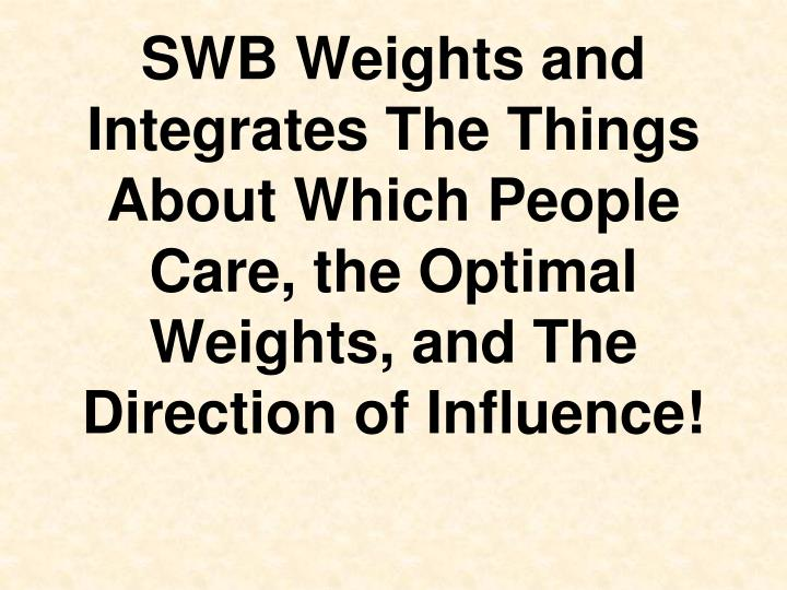 SWB Weights and Integrates The Things About Which People Care, the Optimal Weights, and The Direction of Influence!