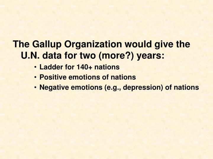 The Gallup Organization would give the U.N. data for two (more?) years: